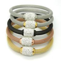 magneten zum verkauf kostenloser versand großhandel-Titanedelstahl-Armband-Armband-Frauen-Schmucksachen volle Kristallmagnet-Armbänder geben Verschiffen frei Neuer heißer Verkauf