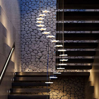 led yıldızlı şekilli ışıklar toptan satış-DIY Keyfi Şekli Yıldız Merdiven Avizeler Kişilik Dubleks Yapı Işıkları Aydınlatma Modern Muhtasar Dönen Akrilik Kolye Lambaları