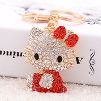 Wholesale figure kitty for sale - Group buy Fashion Crystal Small Hello Kitty Cat Car Keychain Girls Keychain Quality Alloy With Rhinestone Gift Key chains