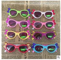 Wholesale bow glasses kid online - Cute Baby Kids Sunglasses Girls Polka Dot Glass Children Bow Eyewear Gafas De Sol ninas Child Sunglasses oculos de sol