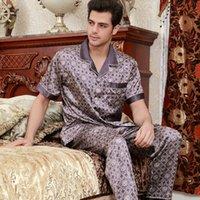 Wholesale plus size silk pajamas - Men's Short Sleeve Nightwear 2pcs Adult Silk Pajamas Male Summer Homewear Short Sleeved Suit Home Furnishing Plus Size B-5844