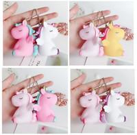 Wholesale lady bag key resale online - Unicorn Keychain Girls Ladies Handbag Keyring Car Pendant Gifts Bag Lovely Animal Key Ring Party Favor colors GGA1039