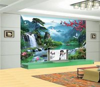 bild boote großhandel-3D Wandbilder Tapete für Wände 3 d Fototapete Berg Fluss Boot Natur Landschaft Dekor Bild Benutzerdefinierte Wandmalerei