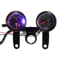 suporte do velocímetro venda por atacado-Calibre do tacômetro do velocímetro do odômetro do luminoso do diodo emissor de luz da motocicleta com suporte