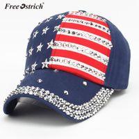 страусиная кепка оптовых-Free Ostrich women's cap American Flag baseball cap with rhinestones 2018 Snapback Hip Hop Flat Hat gorras para hombre N0
