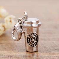 çinko alaşım takı takılar toptan satış-Takı Yapımı İçin Çinko Alaşım Charms 3D Kahve Fincanı Charm
