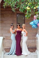 Wholesale blue modest prom dresses - 2018 Modest Mermaid Bridesmaids Dresses Strapless Zipper Back Sweep Train Burgundy Blue Country Maid Of Honor Party Prom Gowns Cheap Custom