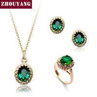 ingrosso set verde austriaco di cristallo-ZYS107 colore oro rosa creato verde austriaco set di gioielli in cristallo con 3 pezzi anello + collana + orecchini
