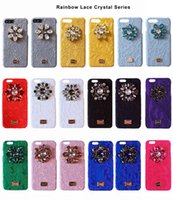 Wholesale Fabric Phone Covers - New Fashion Rhinestone Diamond Flower Lace Fabric Cover Coque For Iphone 6 6s 7 Plus Case Luxury Phone Cases Accessories