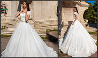 Wholesale sexy outdoor wedding dresses resale online - 2020 New Short Sleeves V Neck Lace A Line Wedding Dresses Tulle Applique Beaded Sash Floor Length Outdoor Wedding Bridal Gowns Vestidos