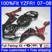 yzf r1 verkleidungskit flamme großhandel-Injektionskörper für YAMAHA YZF R 1 YZF-1000 YZF-R1 07 08 Rote Flammen glänzend 227HM.27 YZF 1000 YZFR1 07 08 YZF1000 YZF R1 2007 2008 Verkleidungsset
