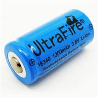 wiederaufladbare lithium-batterie cr123a großhandel-Hochwertige Ultrefire Batterie CR123A 16340 1200mAh 3,7 V wiederaufladbare Lithium-Batterie Freies Verschiffen