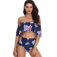 ingrosso bikini bello-New beach wear blu stampa moda costume da bagno di alta qualità donne sport acquatici Swimwear strisce con petto bella vita alta Bikini impostato