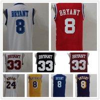 jersey amarillo rojo al por mayor-Venta al por mayor 24 Kobe Bryant Jersey 8 High School Lower Merion 33 Kobe Bryant Retro camisa uniforme amarillo púrpura blanco negro azul rojo