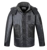 Wholesale leather sleeve parka resale online - Fall Viishow Winter Black Jacket Men Hooded Warm Casual Parka Coat Hooded Design Men Leather Jacket Men Outdoor Sport Wear Clothing