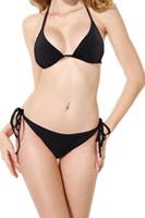 ingrosso floreale nero spinge verso l'alto il bikini-New Women Bianco Nero Fasciatura Bikini Set Push Up Halter Top Swimwear Ladies Striped Floral Print Bikini Sexy Beachwear