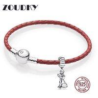 corazones de plata de ley al por mayor-ZOUDKY Nuevo 100% Plata de Ley 925 Pulsera de cuero simple Cor para mujeres con cuentas de cadena de joyería de moda Original