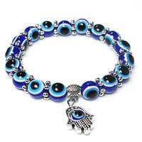 alliage hamsa à la main achat en gros de-1 pc Mode Nouvelle Turquie Evil Eye Bracelet 8mm Bleu Perles Neige Spacer Alliage Hamsa Main Bracelet Bracelet pour Femmes Hommes