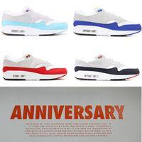 bebek mavisi spor ayakkabıları toptan satış-Nike Air Max 1 MAX 87 30th Yıldönümü 1 OG Mens Koşu ayakkabı Jewel Beyaz Üniversitesi Mavi Kadın Spor Eğitmenler Beyaz Aqua Bebek Mavi Üniversitesi Kırmızı Gri sneakers