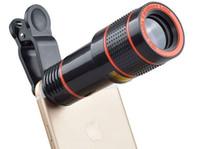 iphone telescópio 12x venda por atacado-Lente Telescópio 12x Zoom unstriver Câmera Óptica teleobjetiva len com clip para o iPhone Samsung HTC celular inteligente celular