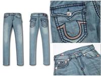 Wholesale Tr Jeans - True MEN Jeans 15 Design TR Causal Mens Denim Pants Hip Hop Men Jeans Religion Brand Long Straight Modern Design Styles Fashion Jeans BEST