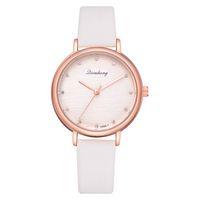 дамский золотой кожаный ремешок оптовых-Fashion Paris Women Quartz Watch Rose Gold Watch Leather Strap  Gift Ladies Vintage INS Style Wristwatch Clock LS1083