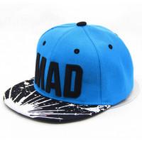 chapéus do snapback da menina do menino venda por atacado-[HEAD BEE] Tendência Chapéu Snapback Cap Crianças Bordados MAD Carta Bonés De Beisebol Meninos E Meninas Miúdo Plano Hip Hop Cap