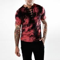 camisas de hombres correas al por mayor-Hombre Tie-dyed Lace Up cuello camiseta Slim Fit Straps cuello Camo hombre camiseta Verano manga corta Hip Hop Skinny camiseta
