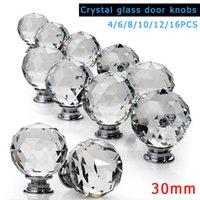 Wholesale door knobs for cabinets - 1 4 6 8 10 12 16Pcs Clear Crystal Glass Furniture Knobs With Screws For Drawer Cabinet Cupboard Wardrobe Door Handle J2Y