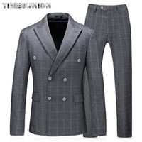 Wholesale flattering clothes for plus size for sale - Group buy British Brand Men Clothes Grey Men Suit Lattice Wedding Suits for Two Double Breasted Slim Fit Suit Plus Size XL XL