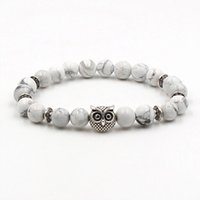 Wholesale buddha head charms for sale - Group buy White Turquoise Bracelets Lion Head Owl Elephant Buddha Palm Natural Stone Bracelet Yoga Bangles For Women Men Gift