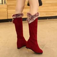 botas de cuña roja alta al por mayor-Más el tamaño 34 a 40 41 42 43 rojo vino invisible cuña talón rodilla rodilla botas altas gamuza sintética