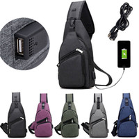 Wholesale man cross body chest pack for sale - Group buy Men Chest Pack USB Charging Messenger Bags Casual Travel Crossbody Shoulder Bag Polyester Sling Bags FFA196 colors