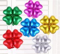 globos de papel en forma de corazón al por mayor-Trébol en forma de corazón Globo de cuatro pétalos para la fiesta de cumpleaños Celebración de la boda Decoración Arco Papel de aluminio Globo C177