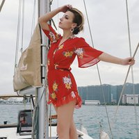 Wholesale sexy holiday clothes for sale - Women Jumpsuit Rompers Sexy Flora Print Casual Red Vocation Holiday Clothes New Fashion Night Club Party Suits