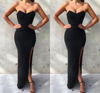 vestido preto bal venda por atacado-Barato Simples 2019 Nova Sereia Preta Vestidos de Baile Sem Alças de Alta Lado Dividir Vestidos Vestido de Festa À Noite vestido de festa vestidos de fiesta