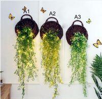 décorations de luciole achat en gros de-Admiralty fleur LED Wall panier fleurs simulation plante décorations murales artificielle firefly lamp fleur avec des lumières