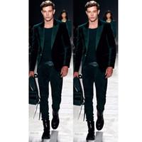 trajes de homem verde venda por atacado-Mais recente Casaco Calça Projetos de Veludo Verde Prom Men Suit Set Slim Fit Smoking (Jacket + Calças) Personalizado Blazers Ternos Do Noivo Traje Homme