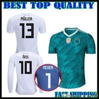 Wholesale Goalkeeper Long Sleeve - 2018 GERMANY soccer jersey home away green muller HUMMELS 18 19 long sleeve OZIL KROOS sane WERNER Goalkeeper NEUER football uniform shirts