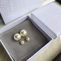 ingrosso orecchini a bolle-all'ingrosso hanno francobolli orecchini doppio Stud designer prima e dopo la dimensione della perla gioielli di personalità orecchini bolla di alta qualità