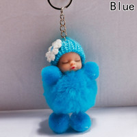 kürklü bebek toptan satış-Uyku Bebek Bebek Topu Anahtarlık Araba Anahtarlık Tutucu Çanta Kolye Charm Anahtarlık Peluş Kürk Yeni Sevimli Kadın Anahtar