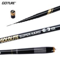 siyah olta çubukları toptan satış-Goture GOLDLITE Serisi Siyah Renk Akışı El Teleskopik Olta 2/8 Güç Besleyici Sazan Olta 3.6 M 4.5 M 5.4 M 6.3 M 7.2 M