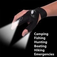 Wholesale luminous gloves - Magic Strap Fingerless Fishing LED Flashlight Glove Outdoor Torch Cover Lights Camping Tools Luminous black Gloves FFA569 120PCS