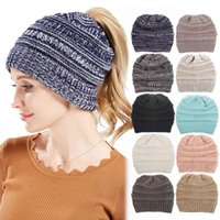 Wholesale women woolen hats - CC Beanies Winter Woolen Knitted Cap Casual Unisex Multi Colors Optional For Men Women Children Warm Skull Hat 20pcs NNA346