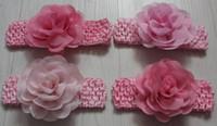 flores de crochet para faixas de bebê venda por atacado-50 pcs 8 cm tecido de chiffon macio malha headband flores para meninas acessórios para o cabelo, bebês crochet headband flores, criança knit headband flores