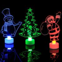 acryl beleuchtete schneemann großhandel-Weihnachten LED Lichter 3D Weihnachtsmann Weihnachtsbaum Schneemann Beleuchtung Ändern Farbe Acryl Lampe Party Dekoration Ornamente für Zuhause