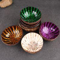 schalenmalerei großhandel-Natürliche Kokosnussschale Schalen Eierschale Handgemalte Bunte Süßigkeiten Schüssel Holz Lagerung Küche Zubehör Heißer Verkauf 12xl gg