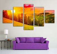 ingrosso vernici frameless per soggiorno-Immagini HD Stampa Frameless Canvas Dipinti Poster murali 5 Pannelli Beautiful Mountain Sunrise For Living Room Cuadros Immagine