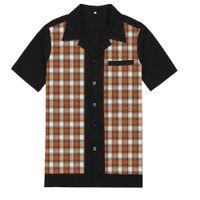 ingrosso manica plaid marrone-Camicia a maniche corte a quadri per il tempo libero di disegno della camicia di plaid degli uomini