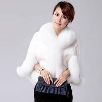 Wholesale mink hair fur coat women - Hair Cape Jacket Fur Faux Fur Coat Mink 2018 Black White Overcoat Imitation Rabbit Faux Fox Collar XXXL FF040
